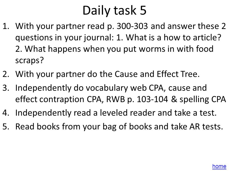 Daily task 4 1.With your partner read p. 284-297 and answer the questions on p.