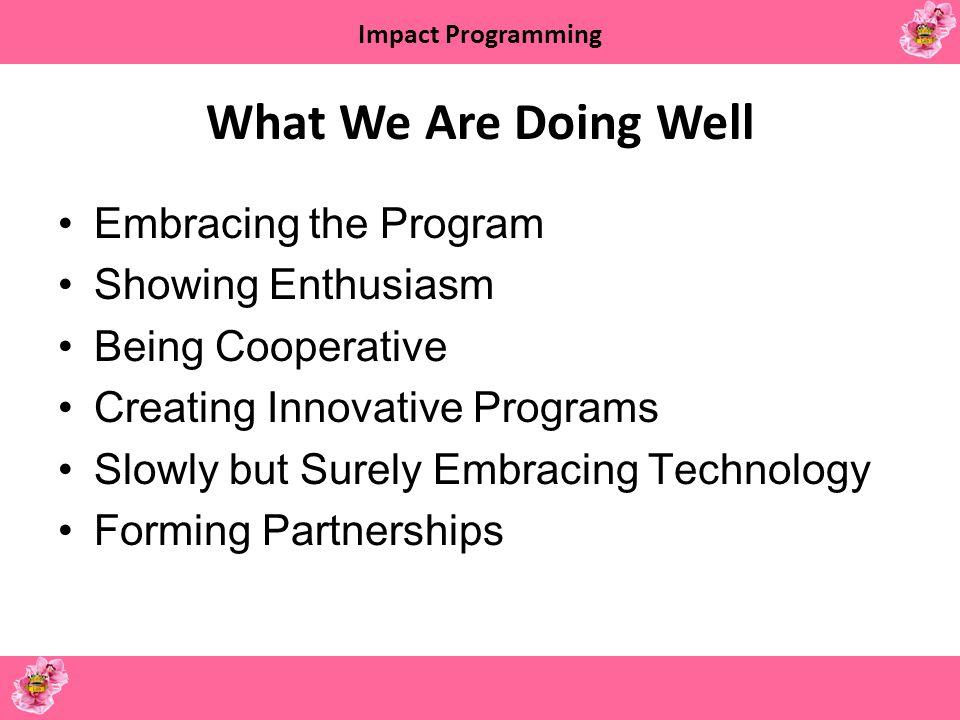 Impact Programming What We Need to Work on Teen Programming Programs vs.