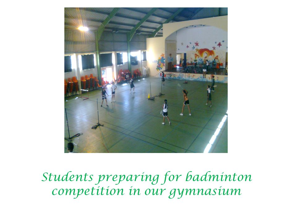 Students preparing for badminton competition in our gymnasium