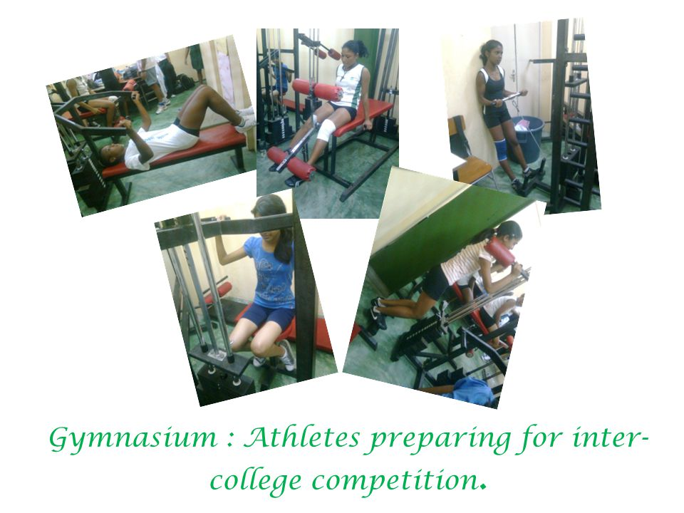 Gymnasium : Athletes preparing for inter- college competition.