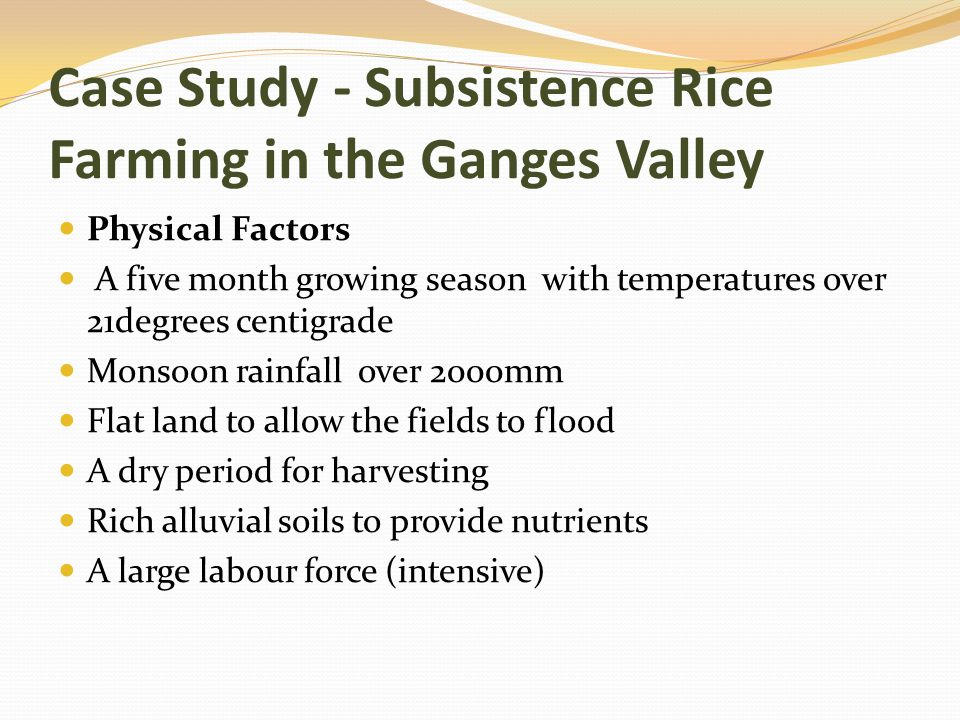 Case Study - Subsistence Rice Farming in the Ganges Valley Physical Factors A five month growing season with temperatures over 21degrees centigrade Mo