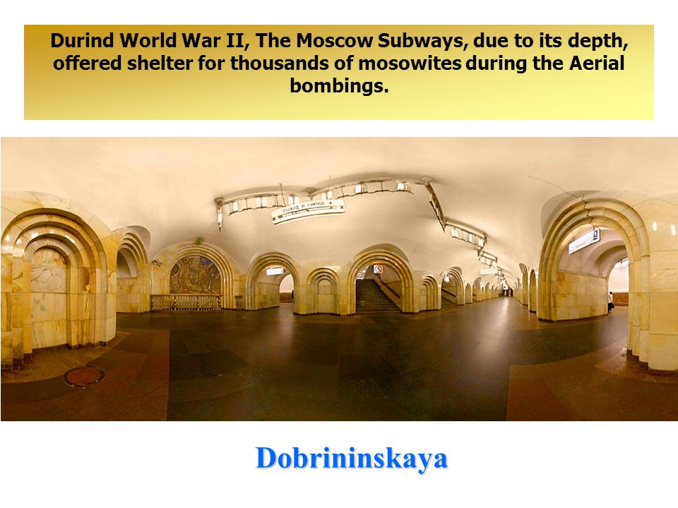Belorusskaya For example, in Revolution Square Station, The Bronze statues represent revolutionaries in 1917 «Red Octomber», in Komsomolskïa Station - Kutuzov maybe seen, who beat Napoleon, in Kievskaïa Station, Peter The Great at the Battle of Poltava, in Teatranlaïa Station there are ballerinas in national costumes and columns of flowers.