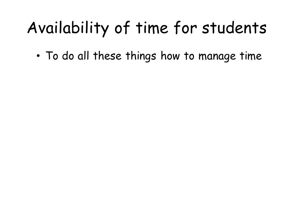 Availability of time for students To do all these things how to manage time