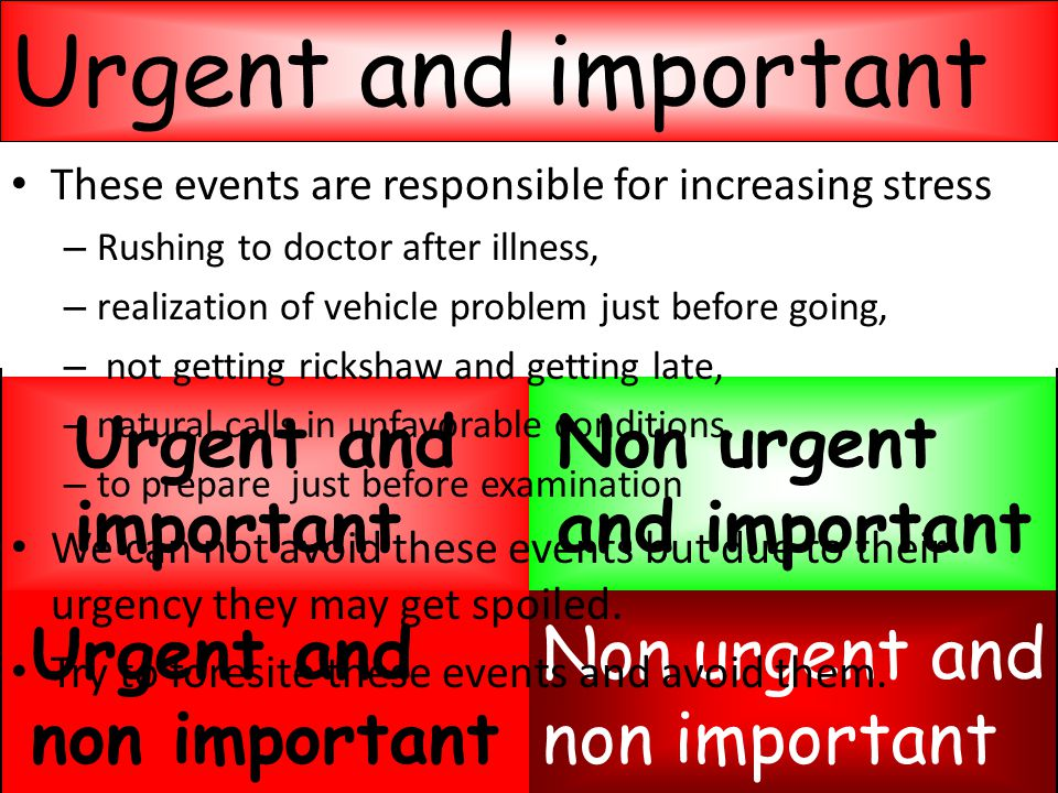 Evaluation of events Non urgent and non important Urgent and non important Non urgent and important Urgent and important These events are responsible for increasing stress – Rushing to doctor after illness, – realization of vehicle problem just before going, – not getting rickshaw and getting late, – natural calls in unfavorable conditions, – to prepare just before examination We can not avoid these events but due to their urgency they may get spoiled.
