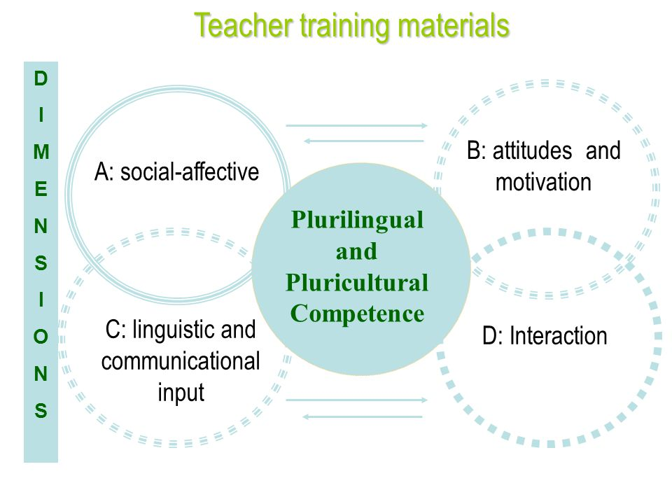 DIMENSIONSDIMENSIONS Plurilingual and Pluricultural Competence A: social-affective C: linguistic and communicational input B: attitudes and motivation D: Interaction Teacher training materials