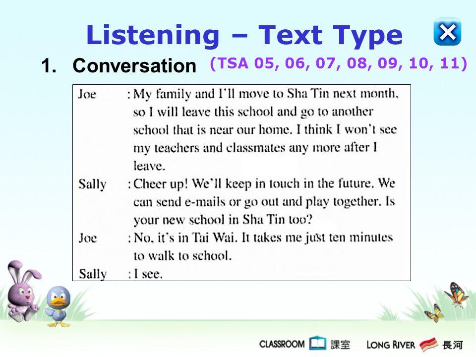 1.Conversation Listening – Text Type (TSA 05, 06, 07, 08, 09, 10, 11)
