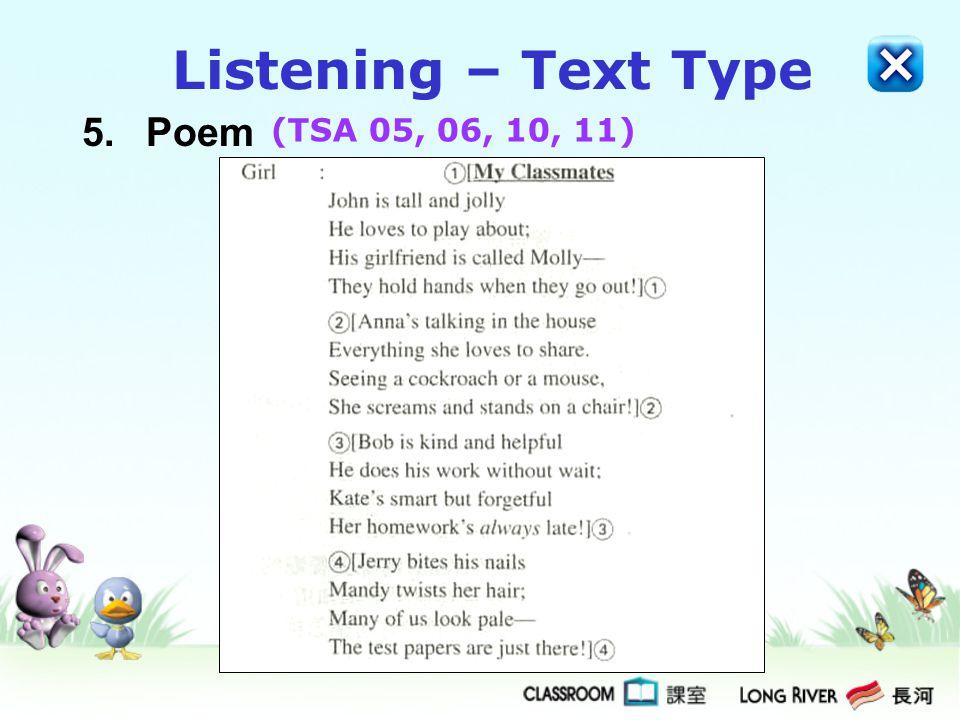 5.Poem Listening – Text Type (TSA 05, 06, 10, 11)