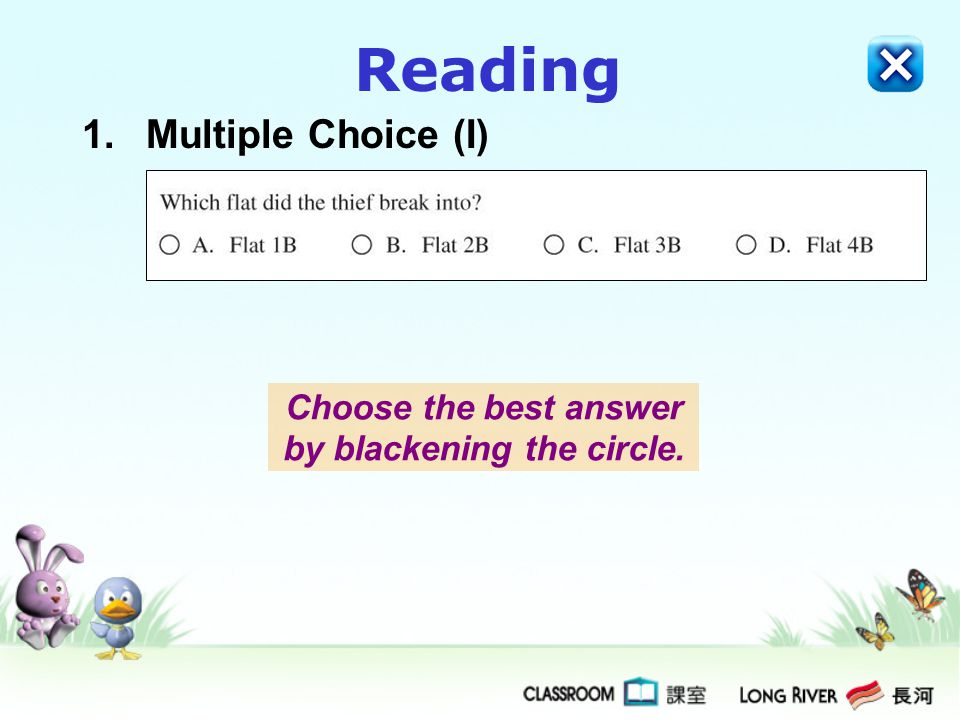 1.Multiple Choice (I) Choose the best answer by blackening the circle.