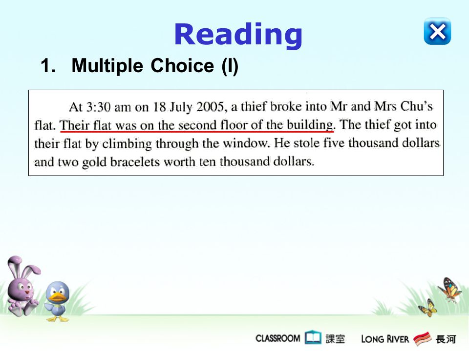Reading 1.Multiple Choice (I)
