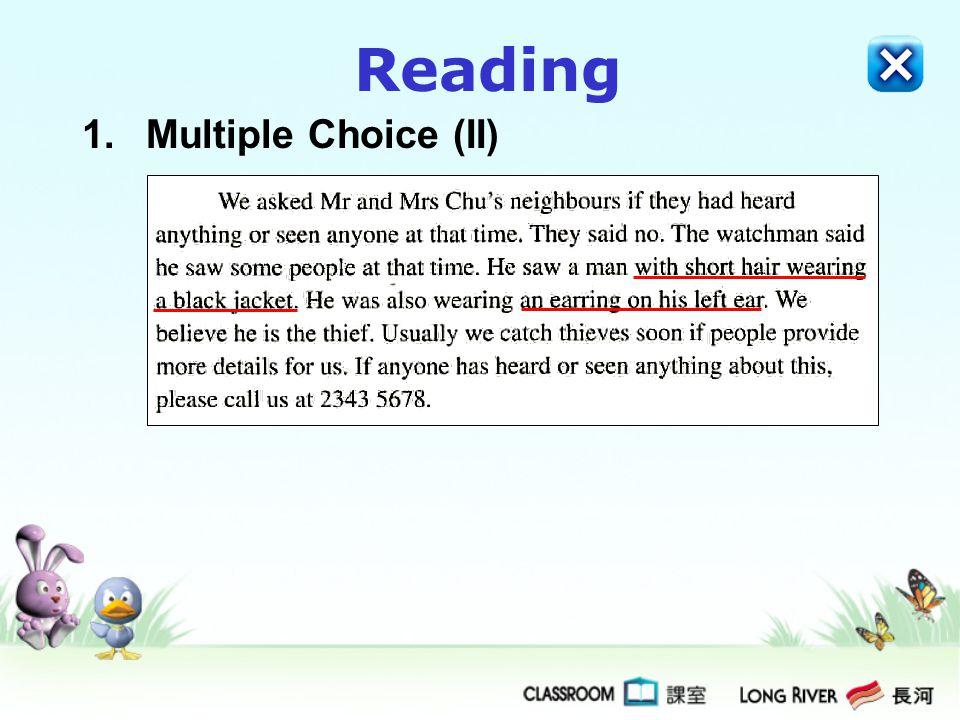 Reading 1.Multiple Choice (II)