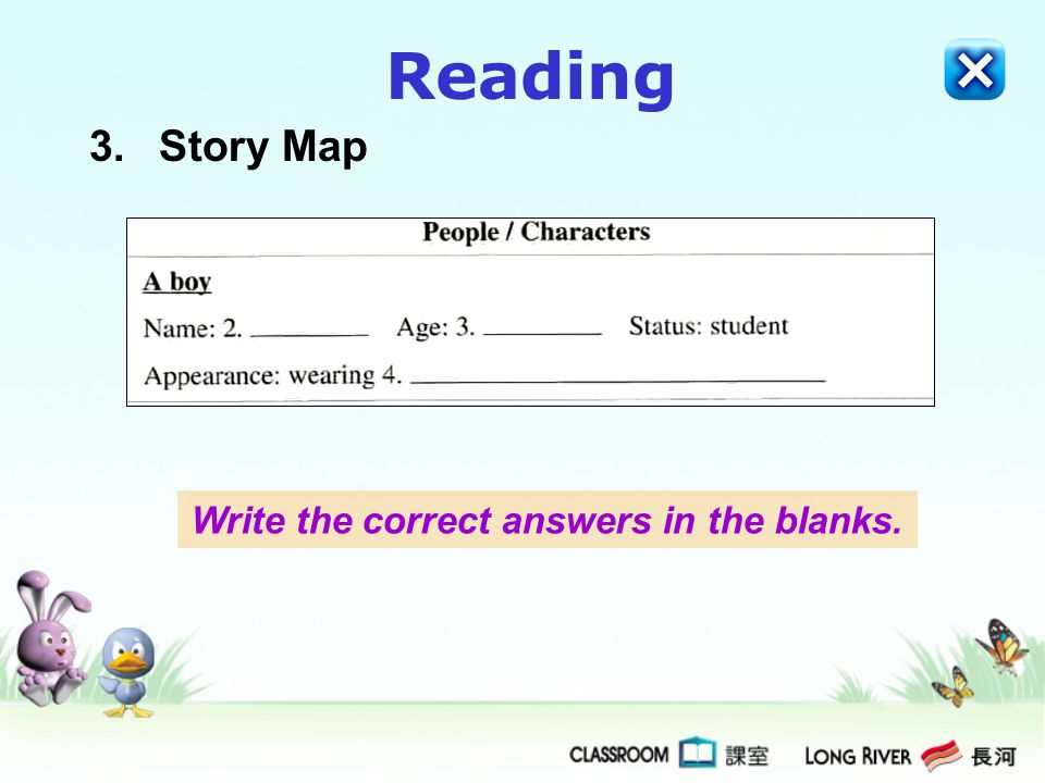 Reading 3.Story Map Write the correct answers in the blanks.