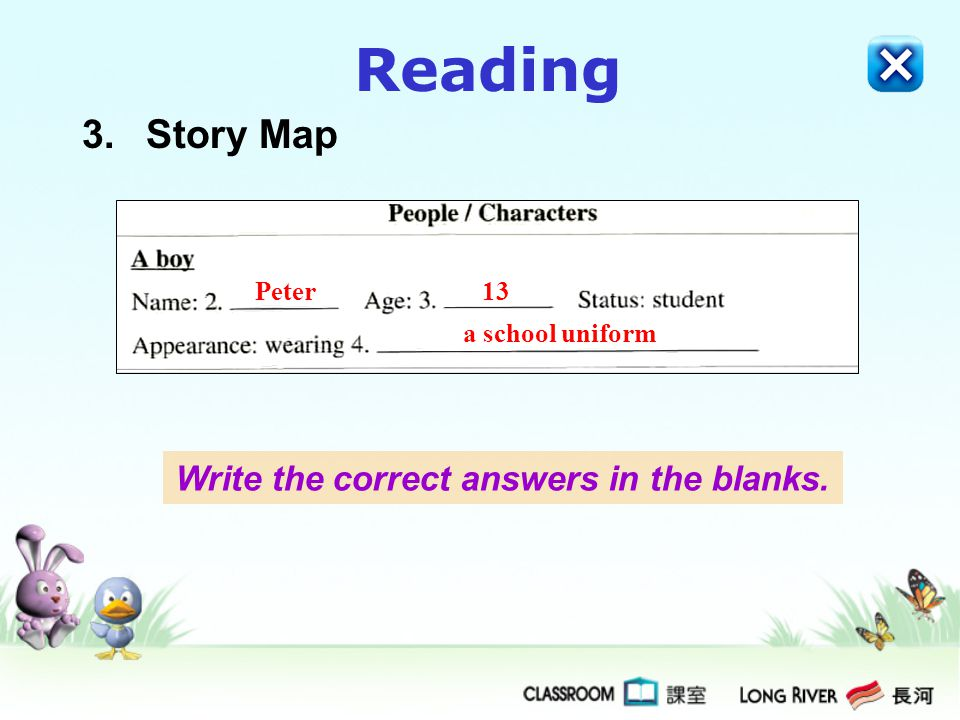 Reading 3.Story Map Peter13 a school uniform Write the correct answers in the blanks.