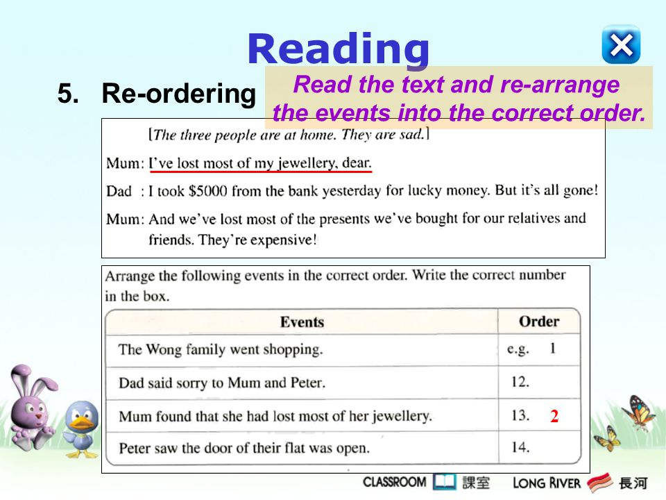 Reading 5.Re-ordering 2 Read the text and re-arrange the events into the correct order.