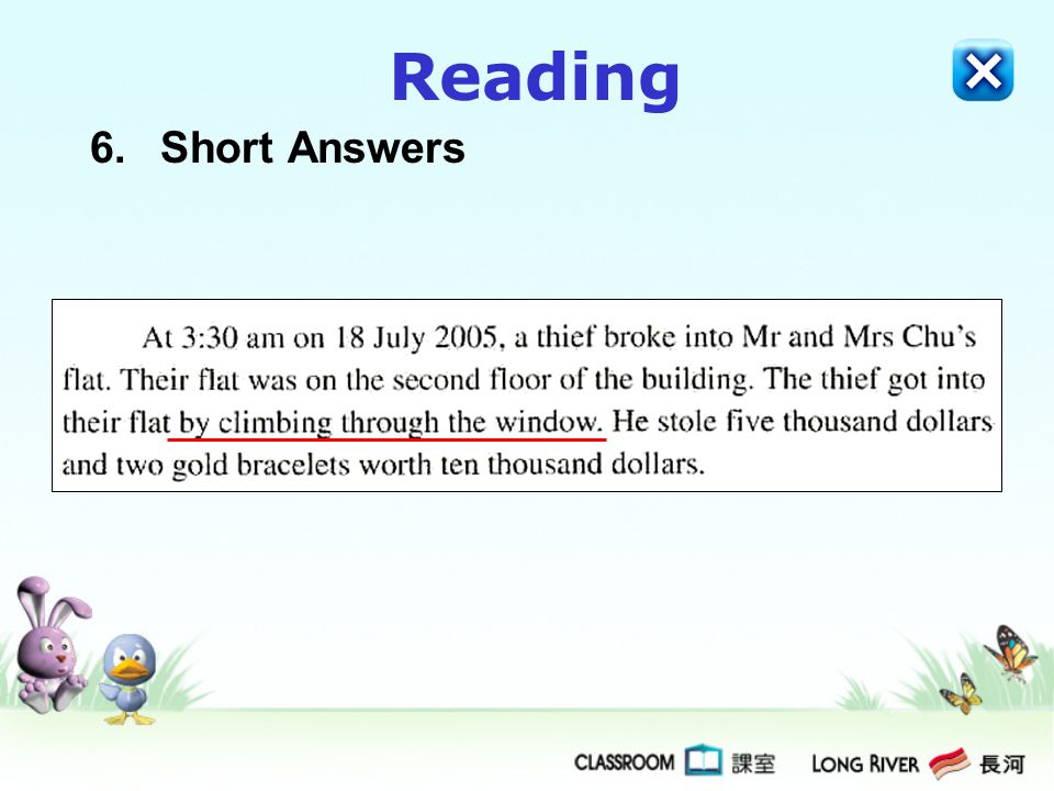 Reading 6.Short Answers
