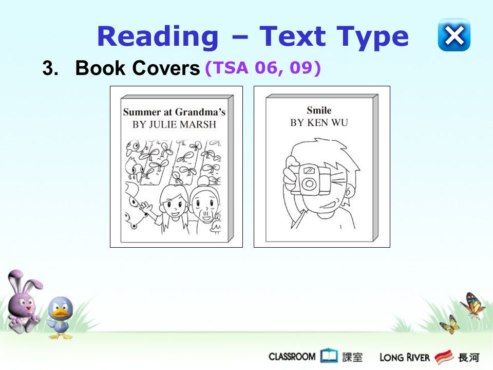 3.Book Covers Reading – Text Type (TSA 06, 09)