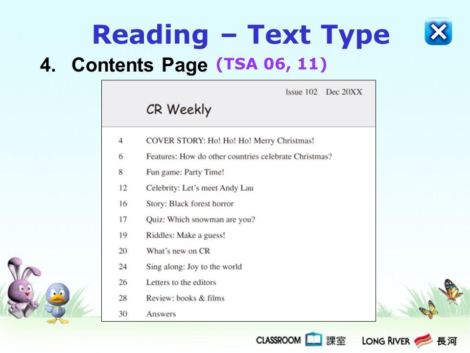 4.Contents Page Reading – Text Type (TSA 06, 11)