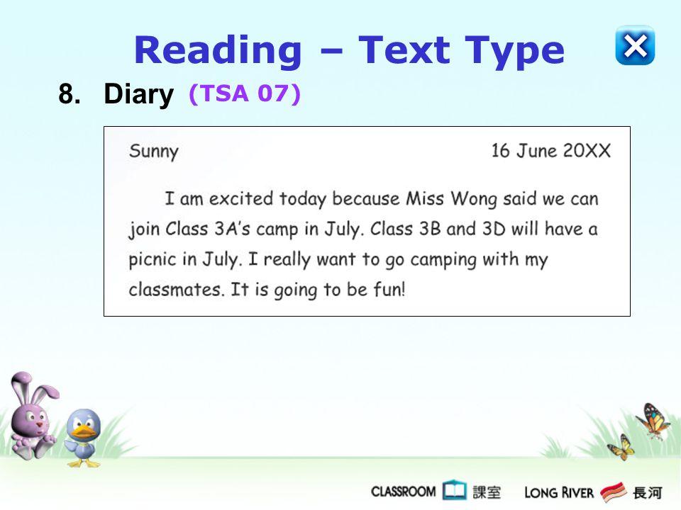 8.Diary Reading – Text Type (TSA 07)