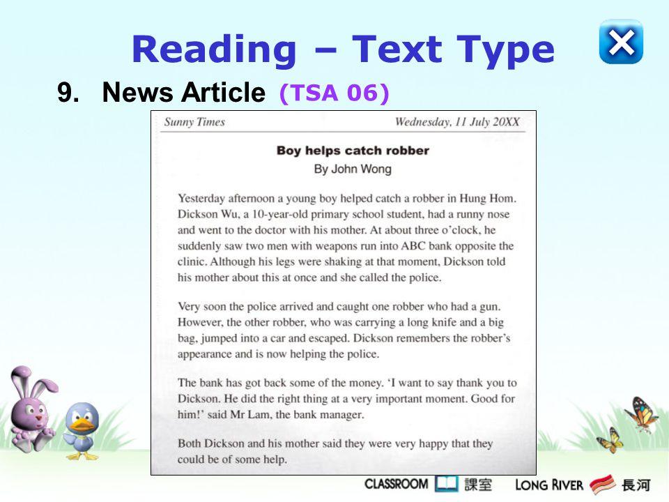 9.News Article Reading – Text Type (TSA 06)
