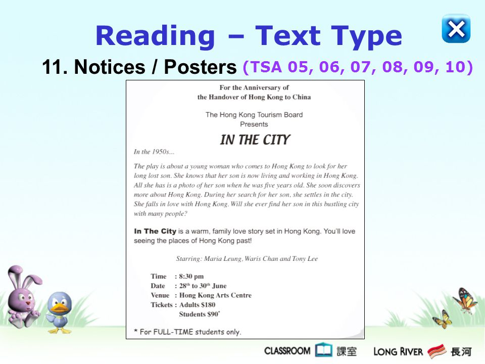 11.Notices / Posters Reading – Text Type (TSA 05, 06, 07, 08, 09, 10)