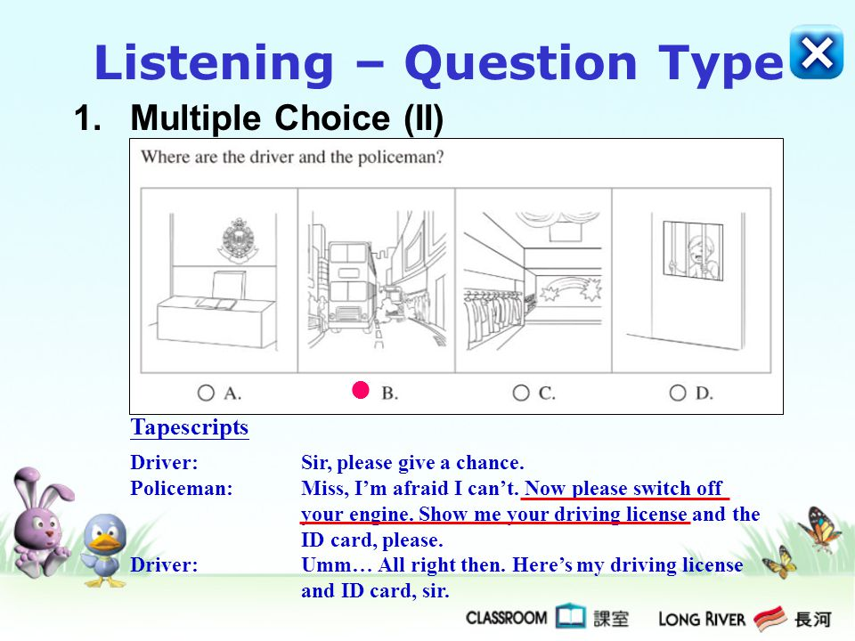 2.Re-ordering (I) Write the letter in the correct box when you hear a beep sound.