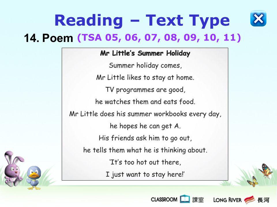 14.Poem Reading – Text Type (TSA 05, 06, 07, 08, 09, 10, 11)