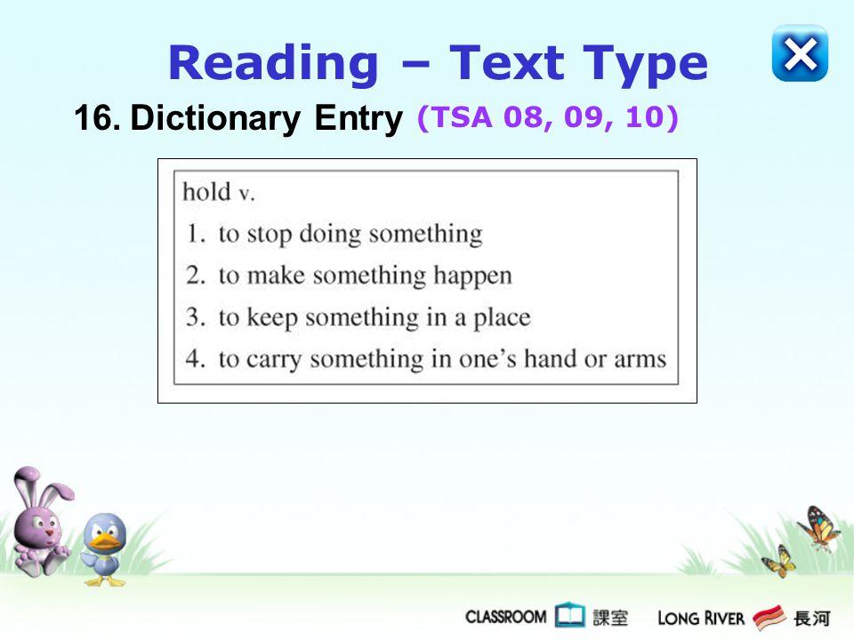 16.Dictionary Entry Reading – Text Type (TSA 08, 09, 10)