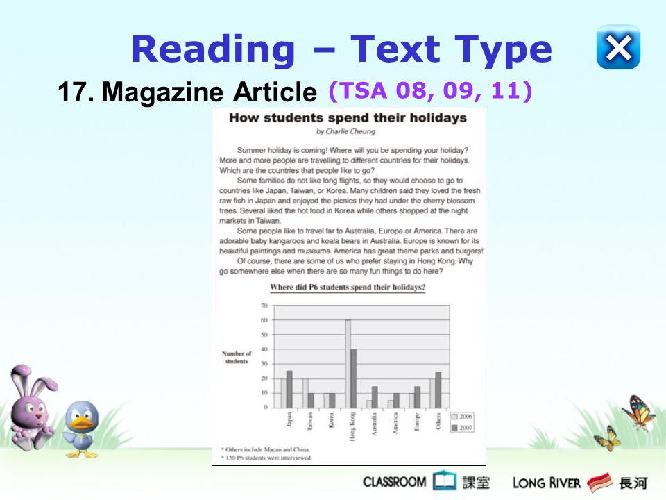 17.Magazine Article Reading – Text Type (TSA 08, 09, 11)