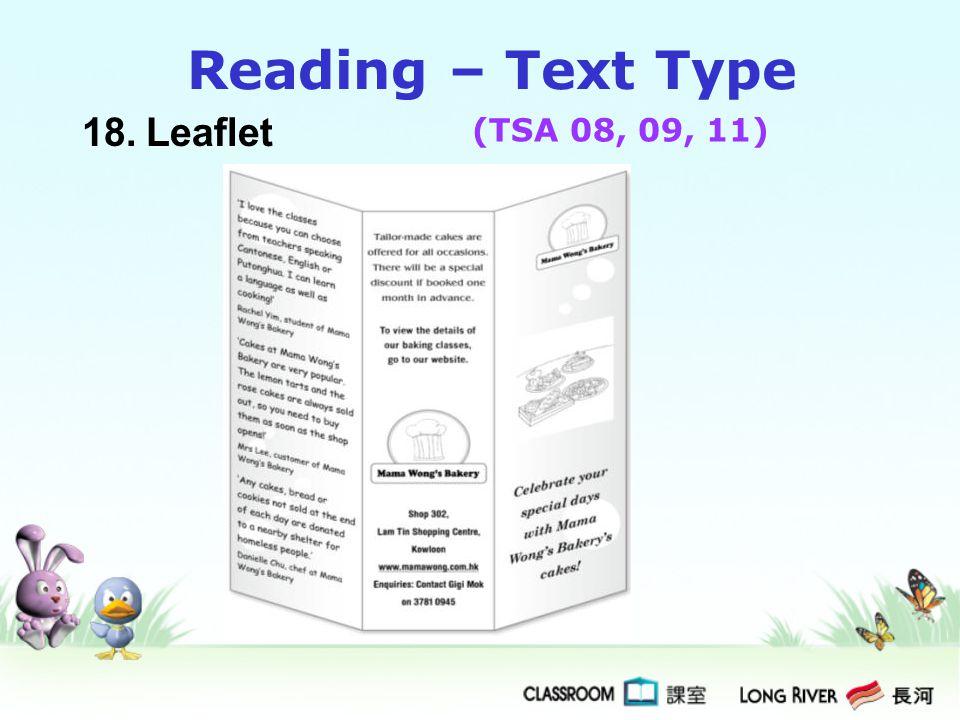 18.Leaflet Reading – Text Type (TSA 08, 09, 11)