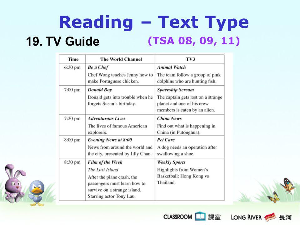 19.TV Guide Reading – Text Type (TSA 08, 09, 11)