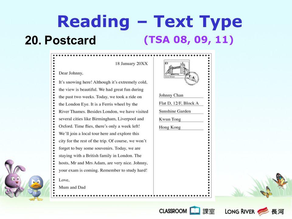 20.Postcard Reading – Text Type (TSA 08, 09, 11)