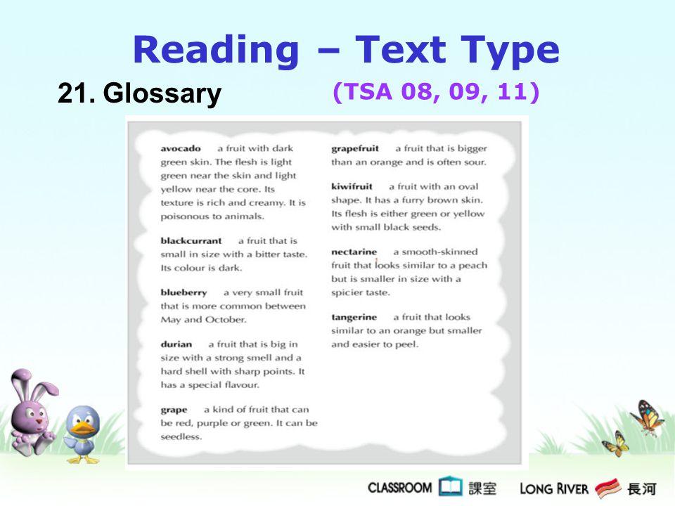 21.Glossary Reading – Text Type (TSA 08, 09, 11)