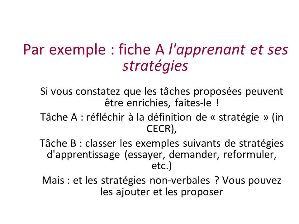 Par exemple : fiche A l apprenant et ses stratégies Si vous constatez que les tâches proposées peuvent être enrichies, faites-le .