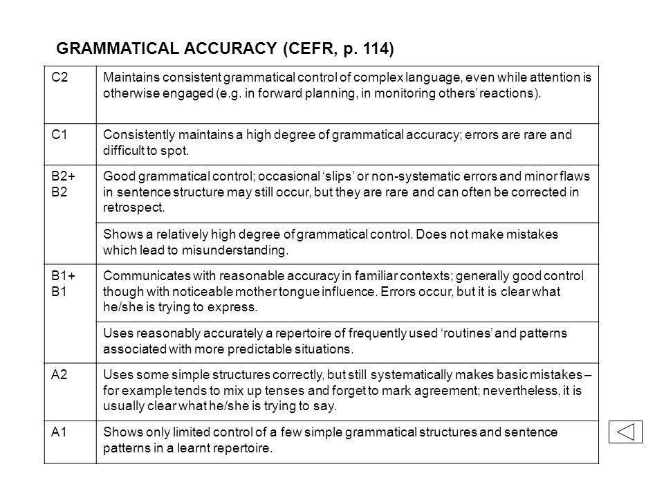 GRAMMATICAL ACCURACY (CEFR, p.