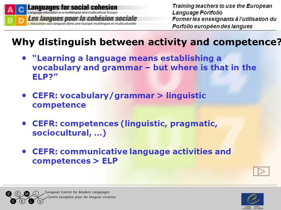 Training teachers to use the European Language Portfolio Former les enseignants à lutilisation du Porfolio européen des langues Psycho-social competence Emotional, affective, cognitive and social disposition and capacities in the communication and learning context Can they be acquired or modified > objectives?