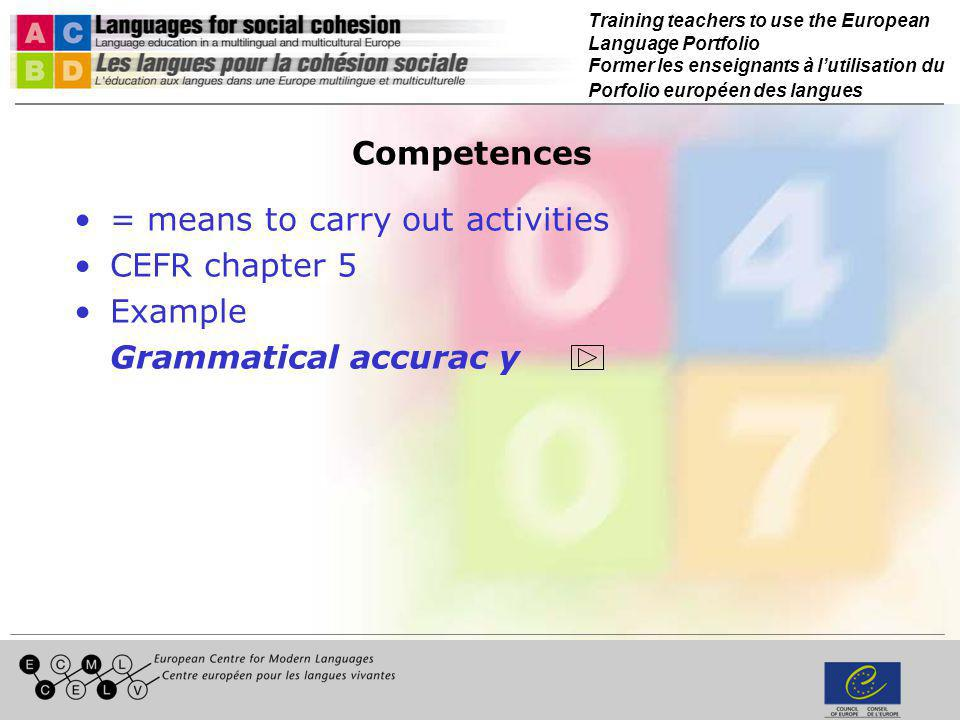 Relation between competences and activities Competences Activities Tool box