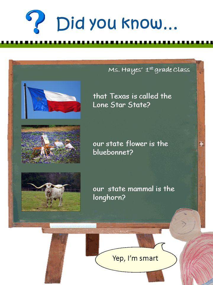 Ms. Hayes 1 st grade Class Did you know… that Texas is called the Lone Star State.