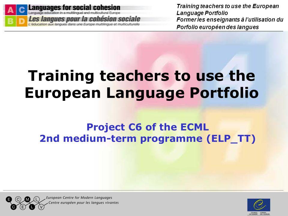 Training teachers to use the European Language Portfolio Former les enseignants à lutilisation du Porfolio européen des langues Linking assessment to the ELP/CEFR Hans-Peter Hodel