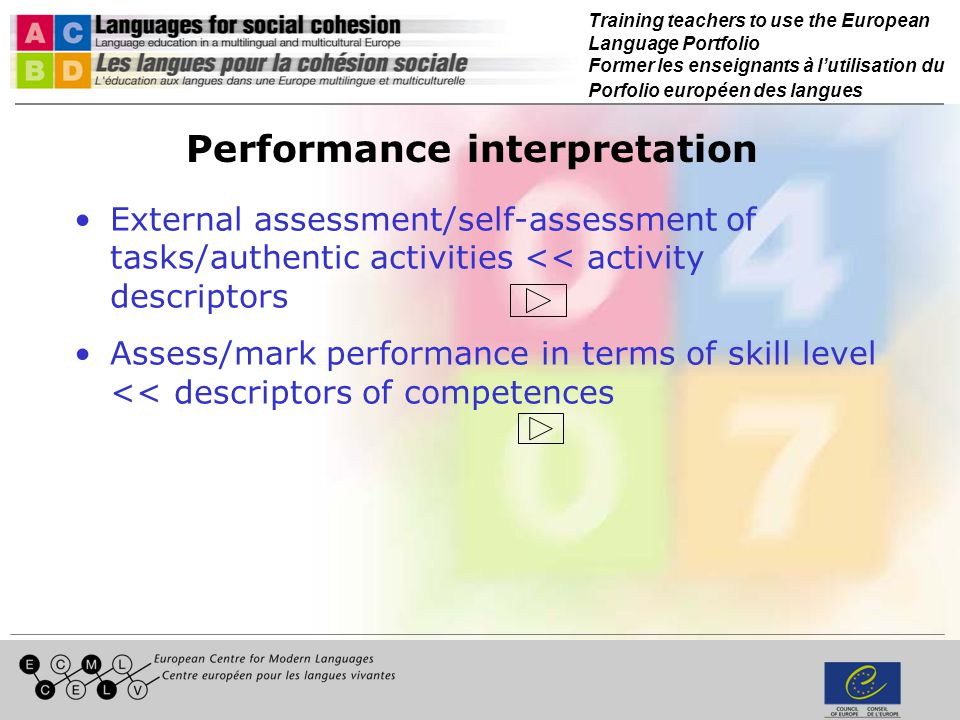 Training teachers to use the European Language Portfolio Former les enseignants à lutilisation du Porfolio européen des langues Performance interpretation External assessment/self-assessment of tasks/authentic activities << activity descriptors Assess/mark performance in terms of skill level << descriptors of competences