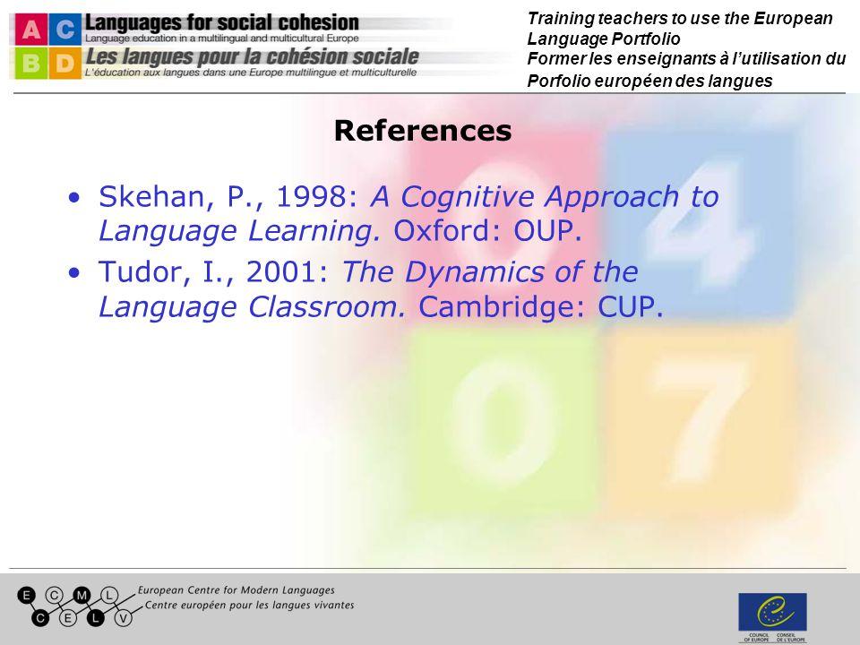 Training teachers to use the European Language Portfolio Former les enseignants à lutilisation du Porfolio européen des langues References Skehan, P.,