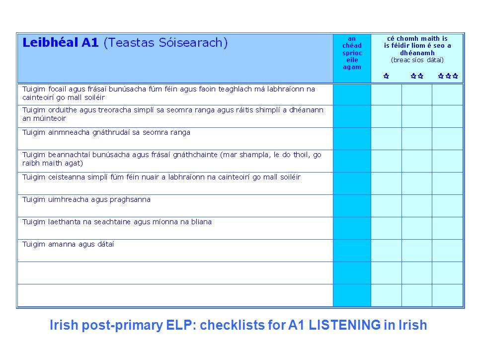 Irish post-primary ELP: checklists for A1 LISTENING in Irish