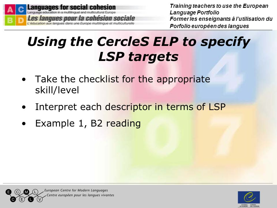 CercleS ELP: goal-setting and self-assessment checklists READING