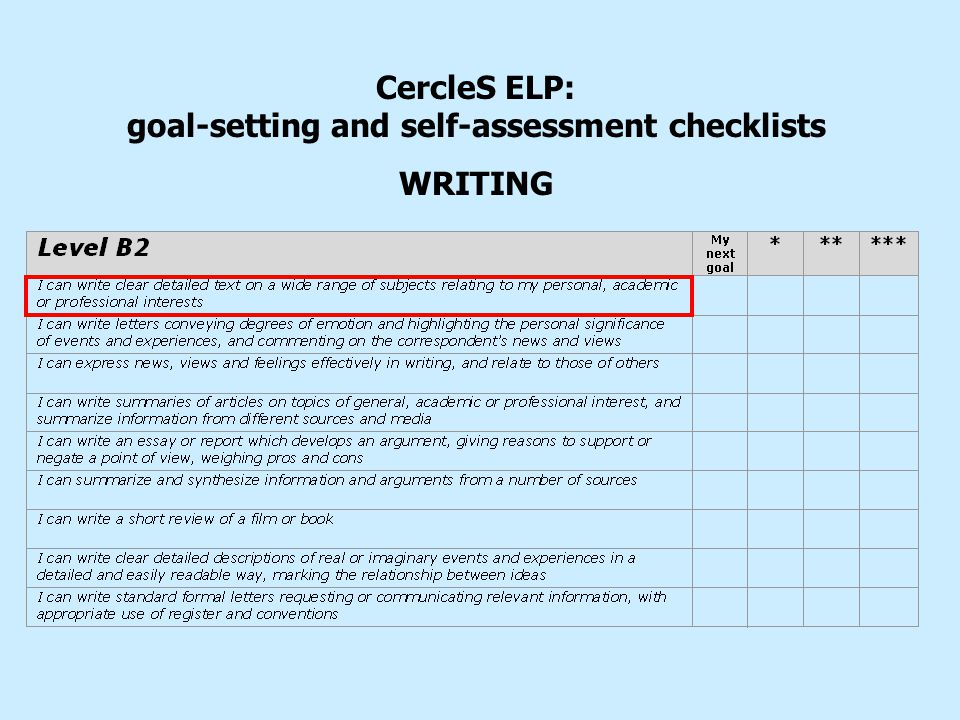 CercleS ELP: goal-setting and self-assessment checklists WRITING