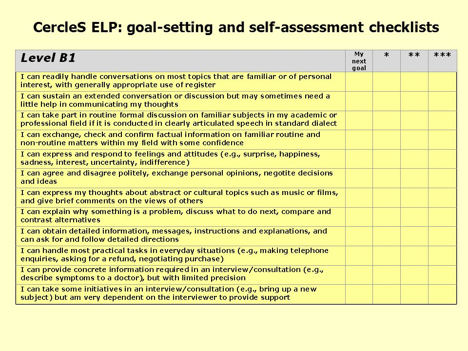CercleS ELP: goal-setting and self-assessment checklists