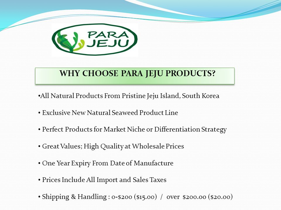 WHY CHOOSE PARA JEJU PRODUCTS.