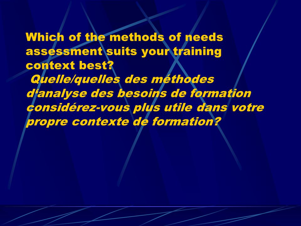 Which of the methods of needs assessment suits your training context best? Quelle/quelles des méthodes danalyse des besoins de formation considérez-vo