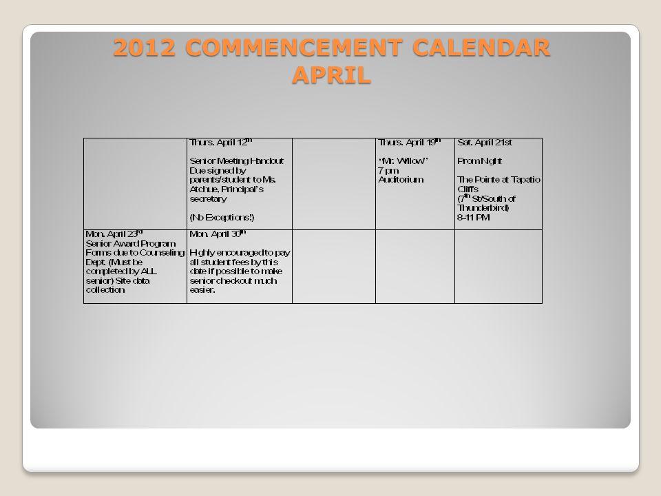2012 COMMENCEMENT CALENDAR APRIL