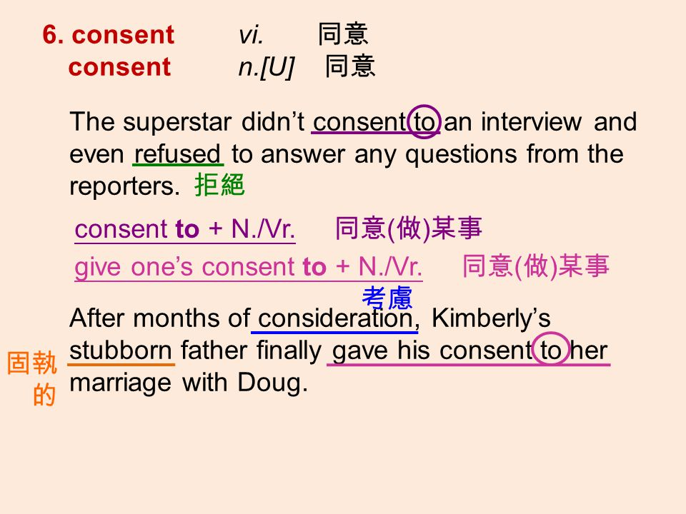 6. consent vi. consent n.[U] The superstar didnt consent to an interview and even refused to answer any questions from the reporters. After months of