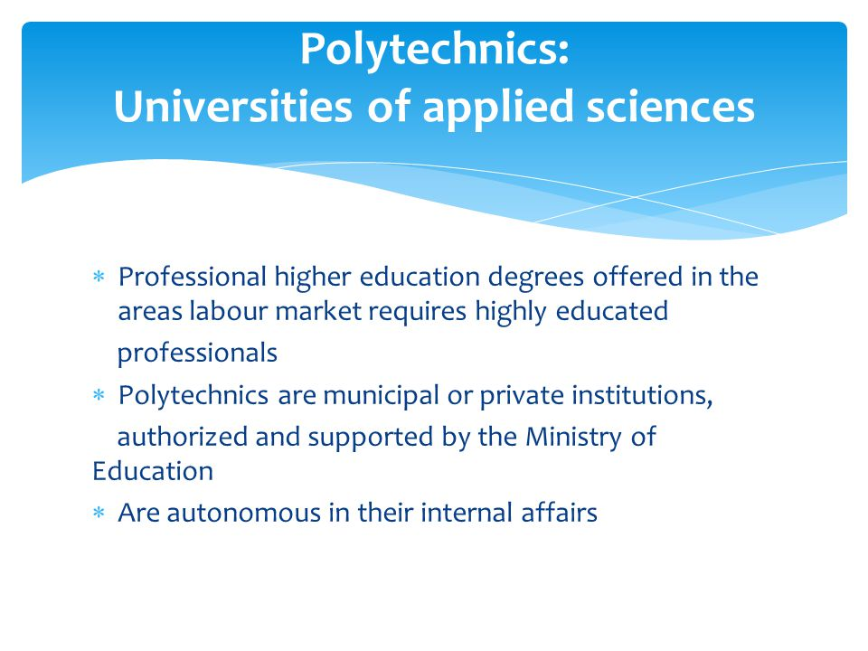 Professional higher education degrees offered in the areas labour market requires highly educated professionals Polytechnics are municipal or private