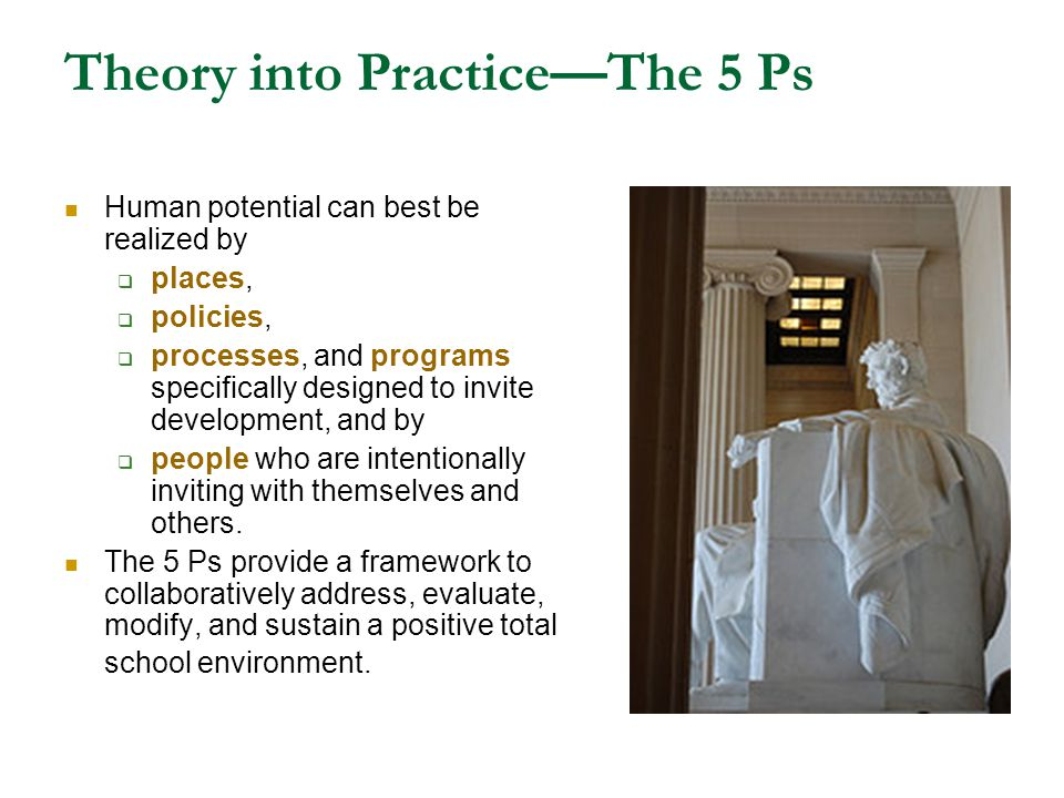 Theory into PracticeThe 5 Ps Human potential can best be realized by places, policies, processes, and programs specifically designed to invite develop