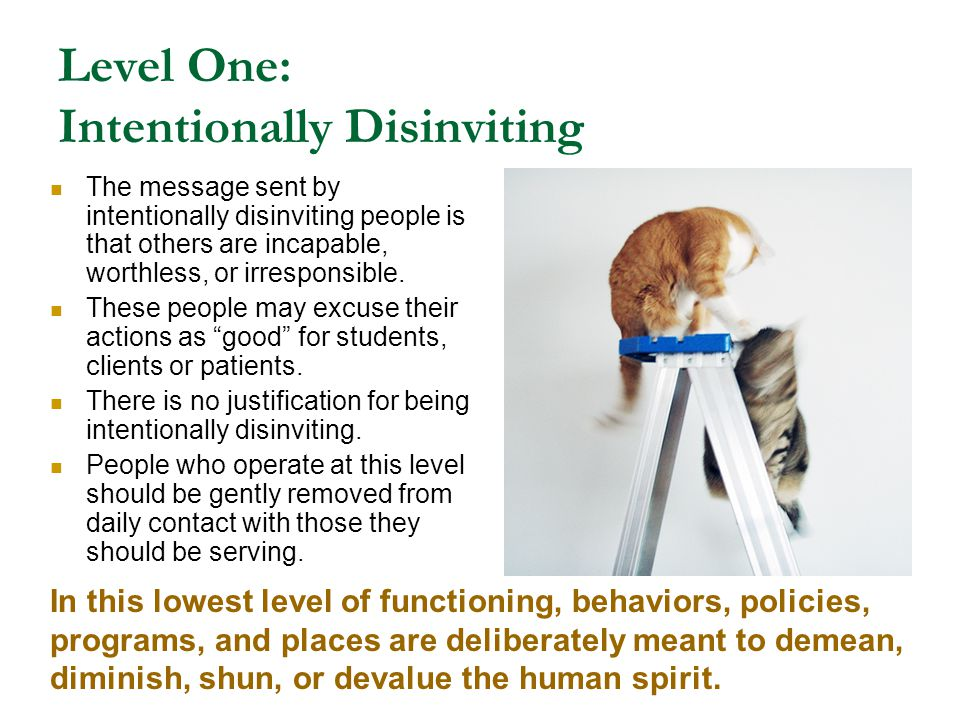 Level One: Intentionally Disinviting The message sent by intentionally disinviting people is that others are incapable, worthless, or irresponsible. T